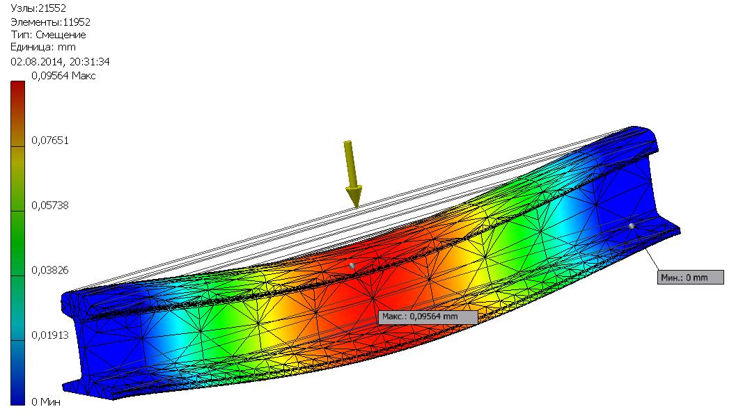 Рисунок 3 ¬– Цветовая карта деформации конструкции