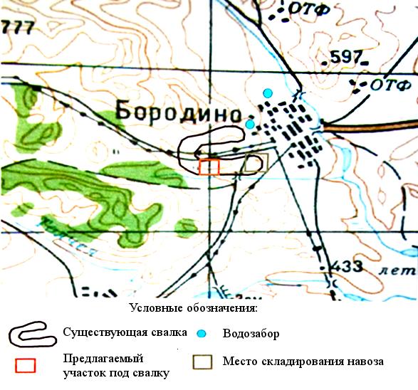 Рисунок 1. Схема размещения свалки ТБО в с. Бородино (M 1: 50 000)